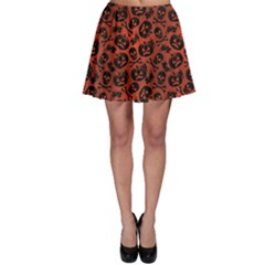 Brown Halloween With Pumpkin And Skeleton Pattern Skater Dress by CoolDesigns