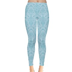 Aqua Damask Pattern Leggings  by CoolDesigns