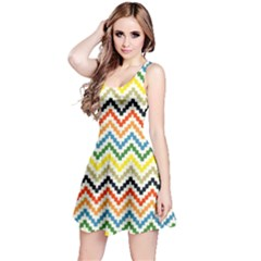 Colorful Hand Painted Style Chevron Pattern Sleeveless Dress by CoolDesigns