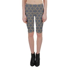 Blue Arabic Pattern In Editable File Cropped Leggings by CoolDesigns