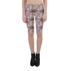 Purple Owls Pattern Cropped Leggings by CoolDesigns