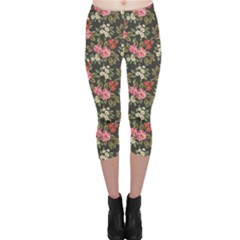 Colorful Floral Pattern With Pink White And Red Flowers Leaves Capri Leggings by CoolDesigns