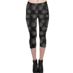 Black Web Spiders Pattern Capri Leggings by CoolDesigns
