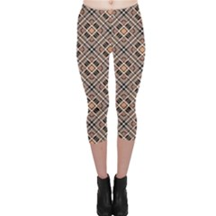 Brown Brown Black Pink Checkered Diagonal Pattern Capri Leggings by CoolDesigns