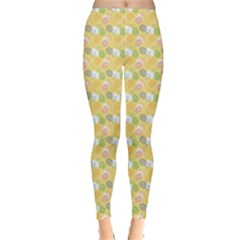 Green Pineapple Juce Pattern Colorful Leggings by CoolDesigns