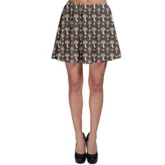 Dark Of Pattern With Abstract Mushrooms And Leaves Skater Skirt by CoolDesigns
