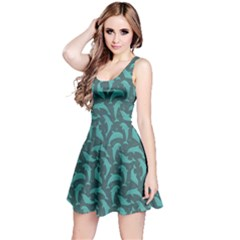 Green Mosaic Pattern With Dolphins Sleeveless Dress