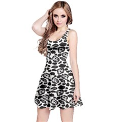 Black Pattern With Cartoon Cows Black And White Sleeveless Dress