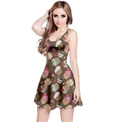 Colorful Pattern Of Tasty Cupcakes Sleeveless Dress by CoolDesigns