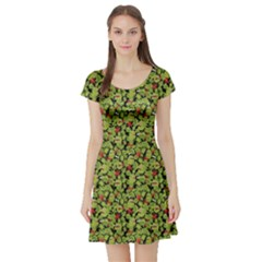 Green Cute Monsters In The Grass Pattern Short Sleeve Skater Dress by CoolDesigns