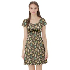 Green Easter Pattern With Rabbits Short Sleeve Skater Dress by CoolDesigns