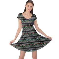 Dark Polish Folk Art Pattern With Flowers Wzory Lowickie Cap Sleeve Dress