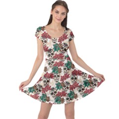 Colorful Skull Hearts And Flowers Cap Sleeve Dress