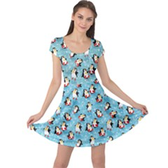 Blue Pattern Funny Penguins Snowflakes On Blue Icy Cap Sleeve Dress by CoolDesigns