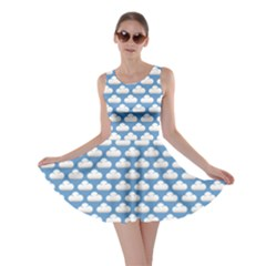 Blue Cute Cloud Pattern Skater Dress