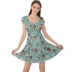 Blue Christmas Pattern Winter Village Scene Cap Sleeve Dress