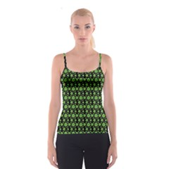 Green Shamrock Pattern Black Spathetti Strap Top by CoolDesigns