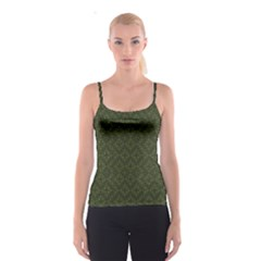 Dark Green Flower And Cross Pattern Spathetti Strap Top by CoolDesigns