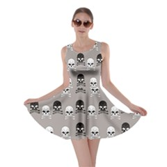 Gray Pattern Skulls Skater Dress by CoolDesigns