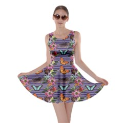 Colorful Pattern Butterflies And Tropical Flowers Skater Dress
