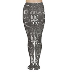 Black Chalkboard Halloween Pattern Women s Tights by CoolDesigns