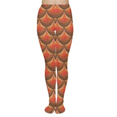 Orange Red Polygonal River Fish Scales A Sample Of Fish Scales Women s Tights by CoolDesigns