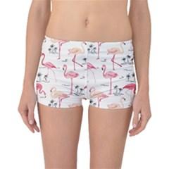Colorful Flamingo Bird Pattern Boyleg Bikini Bottoms by CoolDesigns
