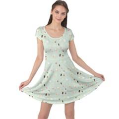 Blue Sweet Pattern Pattern Cap Sleeve Dress