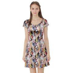 Colorful Pattern Colourful Cartoon Horses Short Sleeve Skater Dress by CoolDesigns