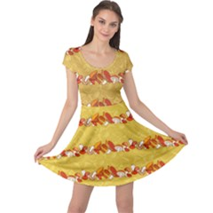 Orange Pattern Edible Mushrooms Cap Sleeve Dress by CoolDesigns