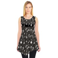 Black White Cats On Black Pattern Design Sleeveless Tunic Top by CoolDesigns