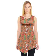 Colorful Winter Christmas Sketchy Pattern Sleeveless Tunic Top by CoolDesigns