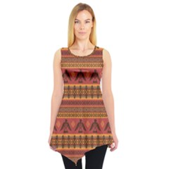 Brown Eagles Ethnic Style Pattern Tribal Native American Sleeveless Tunic Top by CoolDesigns