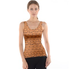 Orange African Tribal Pattern Ethnic Ornament With Different Tank Top by CoolDesigns