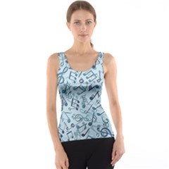Blue Pattern With Music Notes Tank Top by CoolDesigns