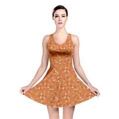 Orange Pattern With Dog Paw Print Bone And Hearts Orange Reversible Skater Dress by CoolDesigns