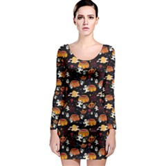 Colorful Halloween Cartoon Bright Long Sleeve Bodycon Dress by CoolDesigns