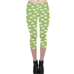 Green Pattern With White Bunnies Capri Leggings by CoolDesigns