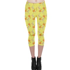 Yellow Pattern Tropical Cocktails Capri Leggings by CoolDesigns
