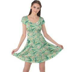 Green Floral Pattern With Bellflower And Bees Cap Sleeve Dress