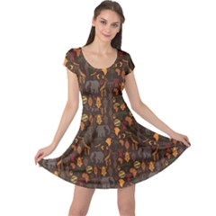 Brown African Ethnic Pattern With Stylized Cap Sleeve Dress