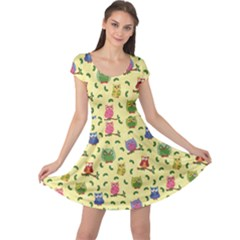 Colorful Pattern With Colorful Ornamental Owls On A Light Cap Sleeve Dress by CoolDesigns