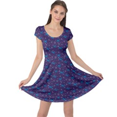 Blue Dark Blue Christmas Pattern With Blue Goats  Cap Sleeve Dress by CoolDesigns
