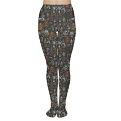 Black Halloween Doodles Pattern Or Women s Tights by CoolDesigns
