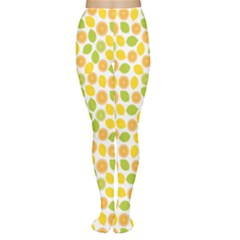 Yellow Pattern With Lemon Lime Orange On The White Women s Tights by CoolDesigns