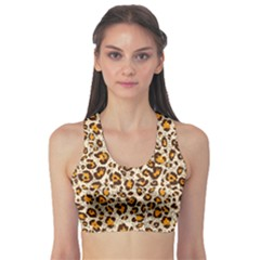 Brown Leopard Pattern Seamless Repeating Animal Women s Sport Bra by CoolDesigns