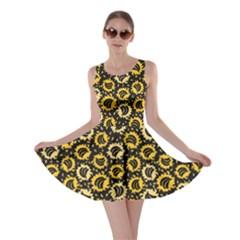 Brown Organic Food Theme Bananas Pattern Skater Dress by CoolDesigns