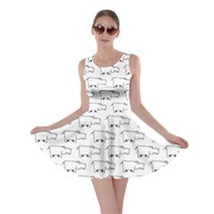 Gray Doodle Sketch Hippo Pattern With Side View Of Large Skater Dress by CoolDesigns