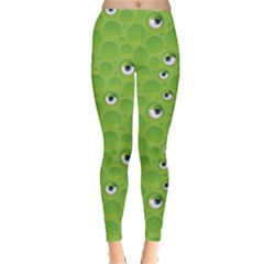 Green Pattern With Bubbles And Eyes Women s Leggings by CoolDesigns