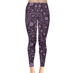 Purple Floral Purple Flower Wallpaper Pattern Women s Leggings by CoolDesigns